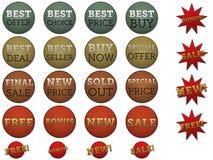 Reeks verschillende etiketten en stickers voor verkoop. Royalty-vrije Stock Fotografie