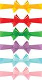 Reeks verschillende geïsoleerde kleurenbogen Stock Afbeelding