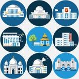 Reeks verschillende gebouwen vector illustratie