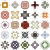 Reeks verschillende gekleurde patronen op abstracte fractal Stock Afbeelding