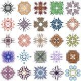 Reeks verschillende gekleurde patronen op abstracte fractal Royalty-vrije Stock Foto's