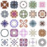 Reeks verschillende gekleurde patronen op abstracte fractal Royalty-vrije Stock Foto