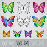 Reeks verschillende gekleurde vlinders stock illustratie