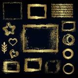 Reeks verschillende gouden elementen, vectorontwerp Stock Foto