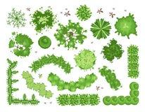 Reeks verschillende groene bomen, struiken, hagen Hoogste mening voor de projecten van het landschapsontwerp Vector geïsoleerde i stock illustratie