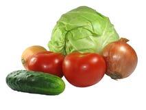 Reeks verschillende groenten die op wit wordt geïsoleerdr Royalty-vrije Stock Afbeelding