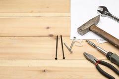 Reeks verschillende handhulpmiddelen voor reparatie en bouw Royalty-vrije Stock Fotografie