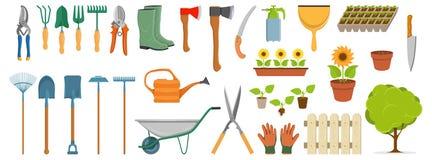 Reeks verschillende het tuinieren hulpmiddelen, de punten van de de lentetuin, diverse hulpmiddelen om te tuinieren, tuinelemente stock illustratie