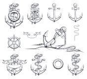Reeks verschillende illustraties van ankers Het stuurwiel van het schip `s Geïsoleerdb voorwerp op de witte achtergrond Hand Getr Stock Foto's