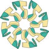 Reeks verschillende kleurenschoenen in cirkel Royalty-vrije Illustratie