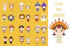 Reeks verschillende kleurrijke karakters van beeldverhaaljonge geitjes in verschillende kostuums royalty-vrije illustratie
