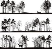 Reeks verschillende landschappen met bomen en dieren Royalty-vrije Stock Afbeeldingen