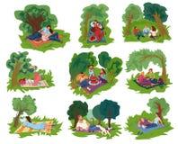 Reeks verschillende mensen die in het groene stadspark rusten royalty-vrije illustratie