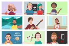 Reeks Verschillende Mensen op Internet-Video's Stock Foto's