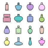 Reeks verschillende multi-colored parfumflessen in vectorformaat op een witte achtergrond Zeer gemakkelijk uit te geven Stock Fotografie