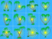 Reeks verschillende palmen op een blauwe zonsopgangachtergrond Royalty-vrije Stock Afbeeldingen