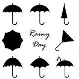 Reeks verschillende paraplupictogrammen Stock Afbeelding
