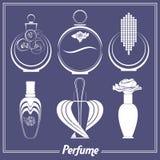 Reeks verschillende parfumflessen, flesjes,  Stock Afbeelding