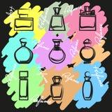Reeks verschillende parfumflessen in vector Stock Foto's