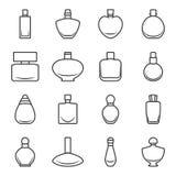Reeks verschillende parfumflessen in vectorformaat op een witte achtergrond Zeer gemakkelijk uit te geven Stock Foto's