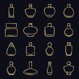 Reeks verschillende parfumflessen in vectorformaat op een zwarte achtergrond met een gouden overzicht Zeer gemakkelijk uit te gev Royalty-vrije Stock Afbeeldingen