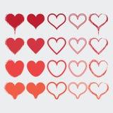 Reeks verschillende pictogrammen van hartvormen in moderne rode kleuren Stock Foto