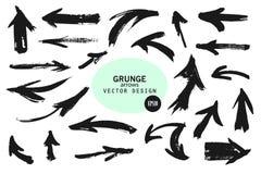 Reeks verschillende pijlen van de grungeborstel, wijzers Hand getrokken verfvoorwerp voor gebruik in uw ontwerp Vector illustrati stock illustratie