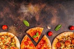Reeks verschillende pizza's royalty-vrije stock foto's