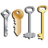 Reeks verschillende sleutels Geïsoleerde voorwerpen Vector beeld Stock Foto