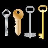 Reeks verschillende sleutels Geïsoleerde voorwerpen Vector beeld Stock Afbeeldingen