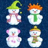 Reeks verschillende Sneeuwmannen Stock Foto's