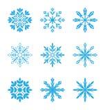 Reeks verschillende sneeuwvlokken die op witte achtergrond wordt geïsoleerd Stock Afbeeldingen