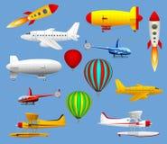 Reeks verschillende soorten luchtvervoer Vliegtuigen, helikopters, ballons en zeppelinnen Royalty-vrije Stock Foto's