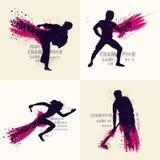 Reeks verschillende Sportenspelers in actie vector illustratie