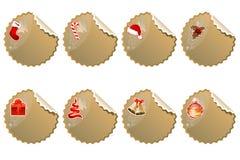Reeks verschillende stickers van Kerstmis Stock Afbeelding