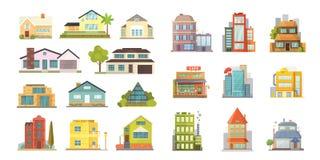 Reeks verschillende stijlen woonhuizen Retro en moderne gebouwen van de stadsarchitectuur Vector van het huis de voorbeeldverhaal stock foto's