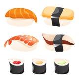 Reeks verschillende sushi royalty-vrije illustratie