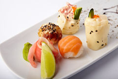 Reeks verschillende sushi Royalty-vrije Stock Afbeeldingen