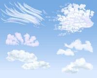 Reeks verschillende types van wolken op daghemel, illustratie vector illustratie