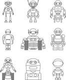 Reeks verschillende vlakke lineaire vectorpictogrammen van silhouettenrobots op witte achtergrond Vector illustratie Stock Fotografie