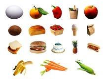 Reeks verschillende voedselpunten Stock Fotografie