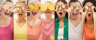 Reeks verschillende vrouwen met komkommerflarden voor ogen royalty-vrije stock fotografie