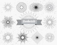 Reeks verschillende zonnestralen royalty-vrije illustratie