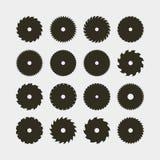 Reeks verschillende zwarte silhouetten van cirkelzaagbladen Vector illustratie royalty-vrije illustratie