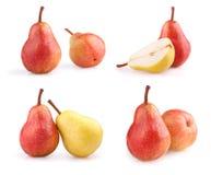 Reeks verse die peren op wit wordt geïsoleerd Royalty-vrije Stock Foto