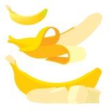 Reeks Verse gele bananen Stock Afbeeldingen