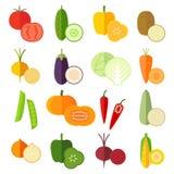 Reeks verse gezonde die groenten in vlakke stijl wordt gemaakt Royalty-vrije Stock Afbeeldingen