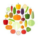 Reeks verse gezonde die groenten in vlakke stijl wordt gemaakt Royalty-vrije Stock Foto's