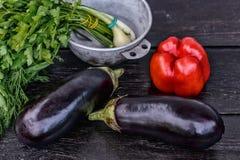 Reeks verse groenten op donkere houten lijstachtergrond De studio van het stilleven photography Royalty-vrije Stock Afbeelding