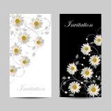 Reeks verticale banners met bloemen Stock Afbeelding